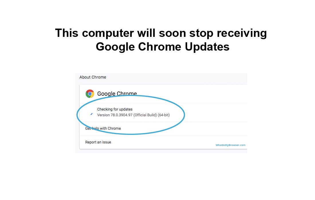 This computer will soon stop receiving Google Chrome Updates
