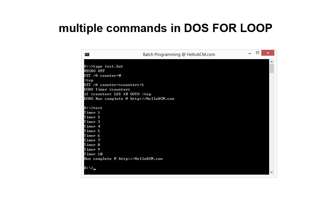 multiple commands in DOS FOR LOOP